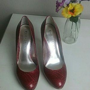 White House Black Market Animal Print Red Heels
